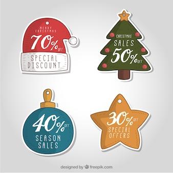 Cztery ręcznie rysowane christmas sale tags