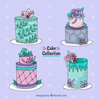 Cztery ręcznie rysowane tort urodzinowy