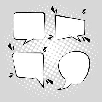 Cztery retro dymki rysowane w stylu pop-art na szarym tle ilustracji