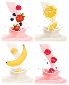 Cztery różne etykiety z owocami wpadającymi do mleka i jogurtu. wektor.
