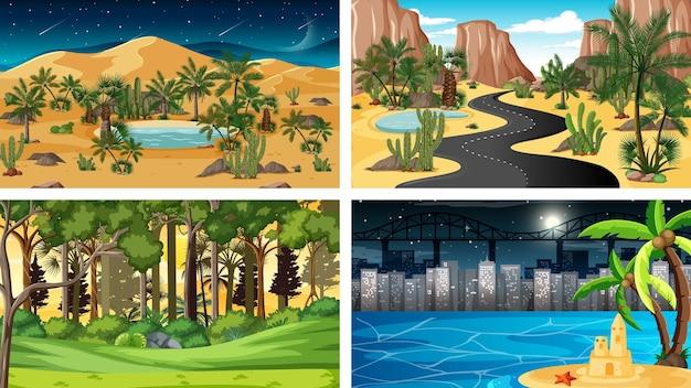 Cztery Różne Horyzontalne Sceny Natury Darmowych Wektorów