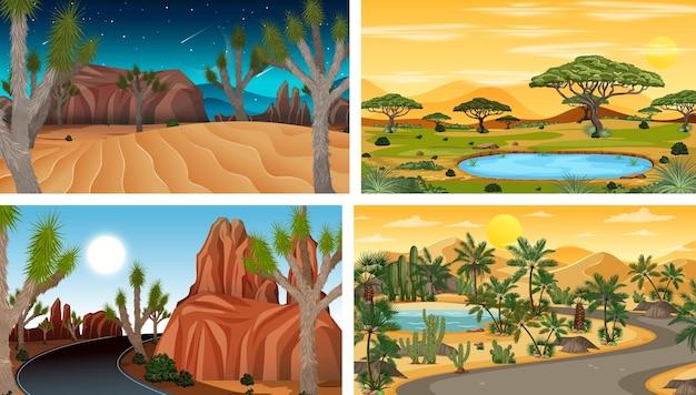 Cztery różne horyzontalne sceny natury