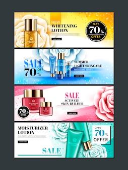 Cztery różne kolorowe banery internetowe o tematyce kosmetycznej z produktami, kwiatami róży i błyskotkami