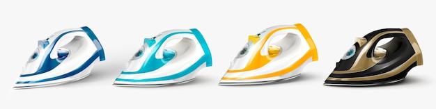Cztery różne kolorowe żelazka ustawione w ilustracji 3d