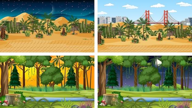 Cztery różne poziome sceny natury