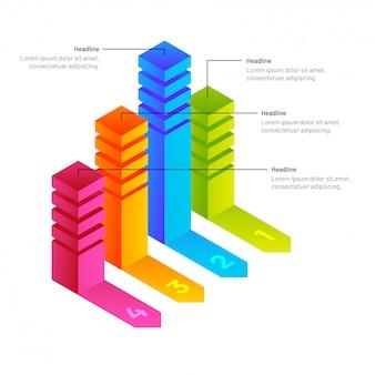 Cztery różne poziomy kolorowy wykres słupkowy