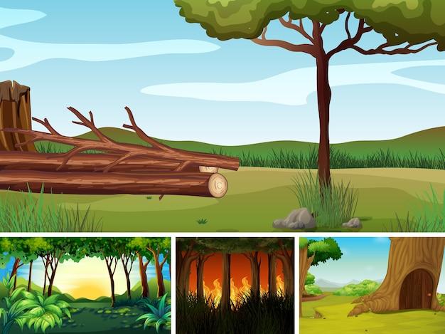 Cztery różne sceny katastrof naturalnych w stylu kreskówki lasu