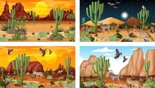 Cztery różne sceny krajobrazu pustynnego lasu ze zwierzętami i roślinami