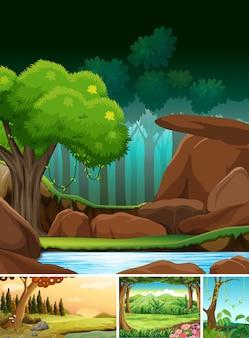 Cztery różne sceny natury leśnego stylu kreskówki