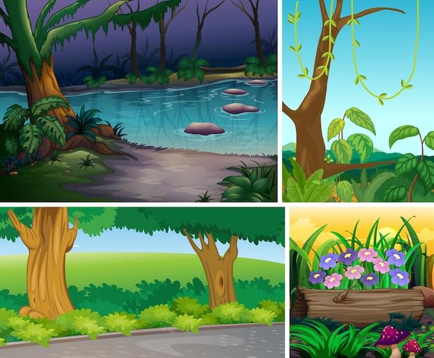 Cztery różne sceny natury stylu cartoon lasu i bagna