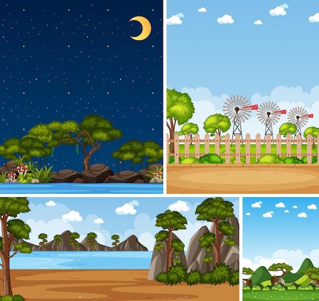 Cztery różne sceny natury z zielonymi drzewami w różnym czasie