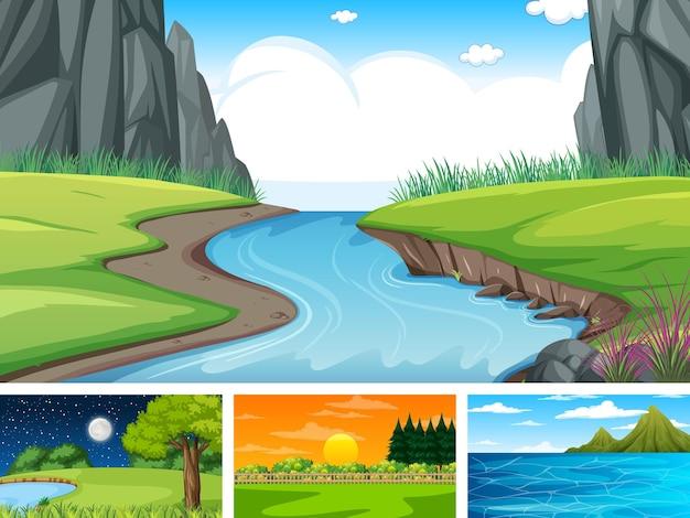 Cztery Różne Sceny Parku Przyrody I Lasu Darmowych Wektorów
