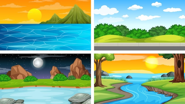 Cztery różne sceny parku przyrody i lasu