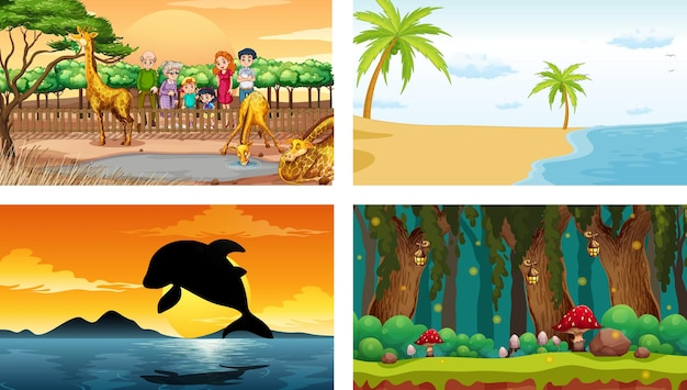 Cztery różne sceny poziome natury
