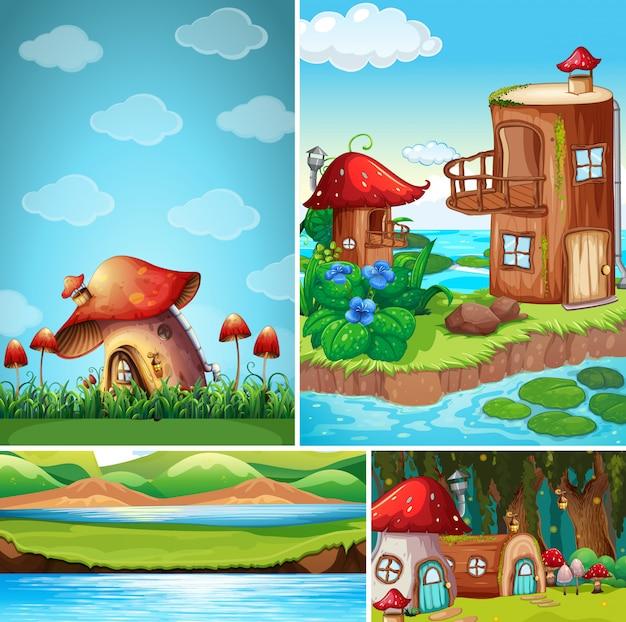 Cztery różne sceny świata fantasy z domem fantasy w bajce