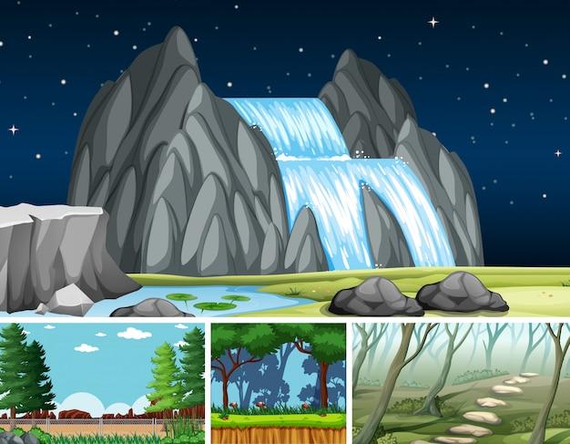 Cztery różne sceny w stylu cartoon ustalającym charakter