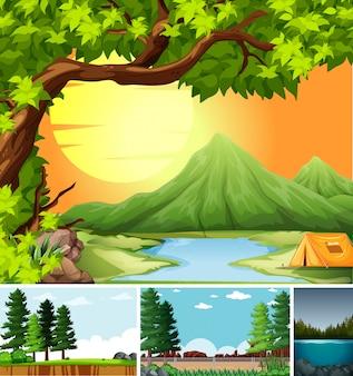Cztery różne sceny w stylu cartoon ustawienie przyrody