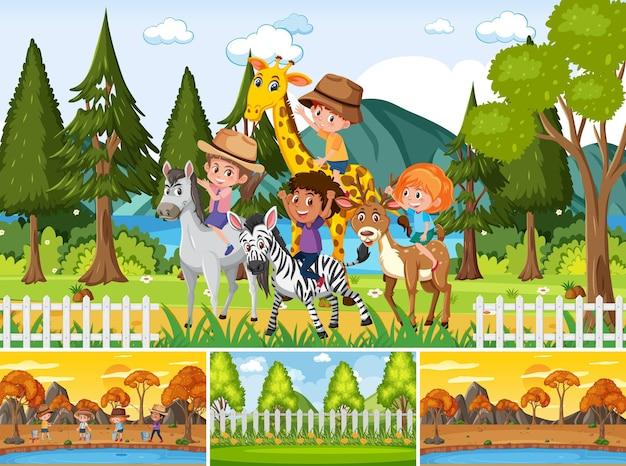 Cztery różne sceny z postacią z kreskówek dla dzieci