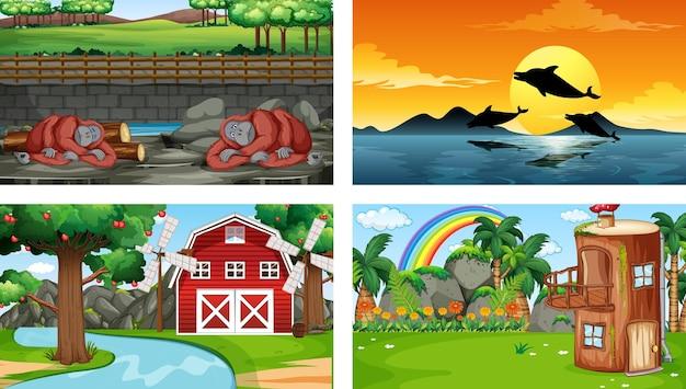 Cztery różne sceny z różnymi postaciami z kreskówek zwierząt