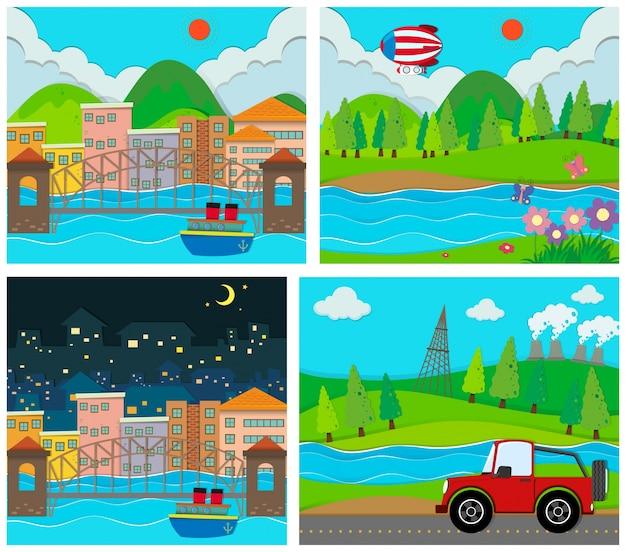 Cztery sceny obszarów wiejskich i miejskich