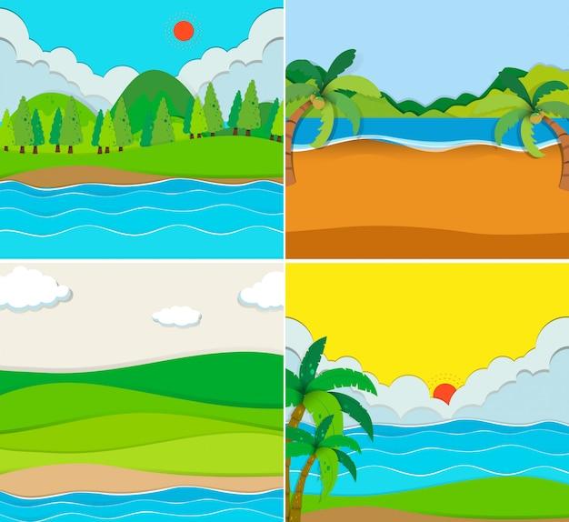 Cztery sceny plaży i rzeki