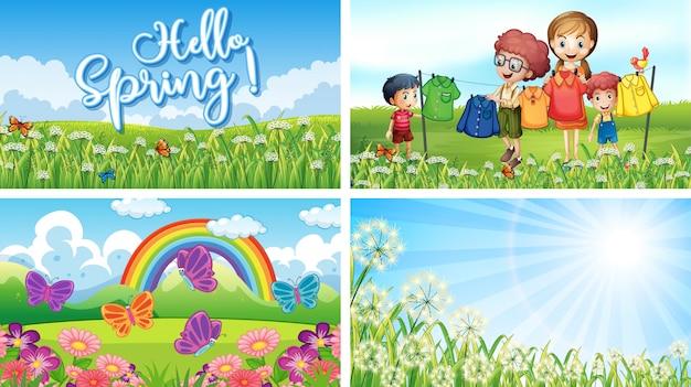 Cztery sceny tła z dziećmi i zwierzętami w parku