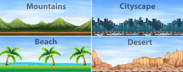 Cztery sceny tła z różnych miejsc