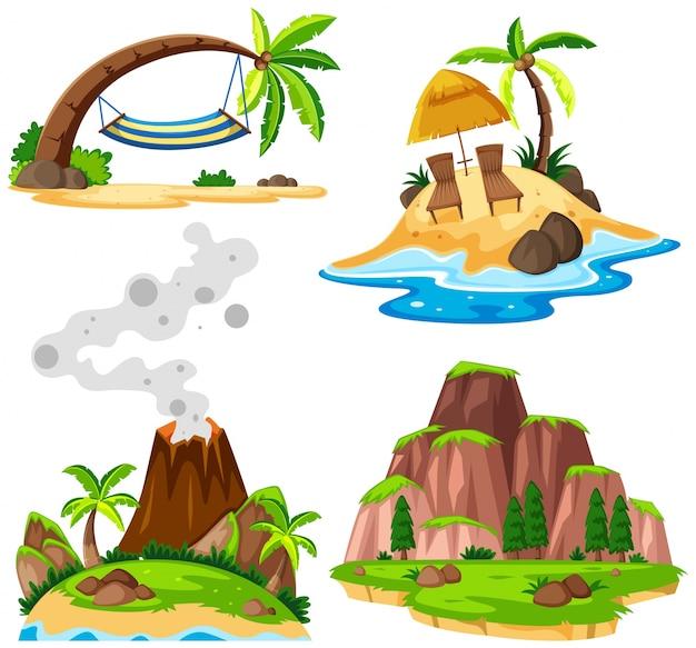 Cztery sceny wyspy i plaży