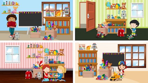 Cztery sceny z dziećmi bawiącymi się w różnych pokojach