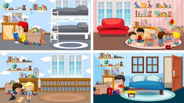 Cztery sceny z dziećmi czytającymi książkę na ilustracjach różnych pokoi