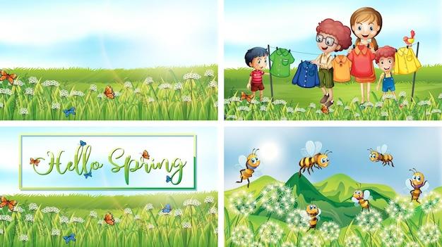 Cztery sceny z dziećmi i zwierzętami w parku
