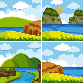 Cztery sceny z rzeki i jeziora w czasie dnia