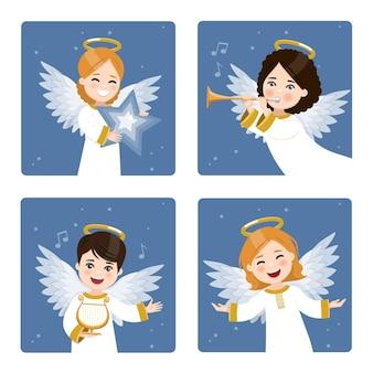 Cztery słodkie anioły na ciemnym niebie z gwiazdami w tle.