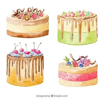 Cztery smaczne tort urodzinowy