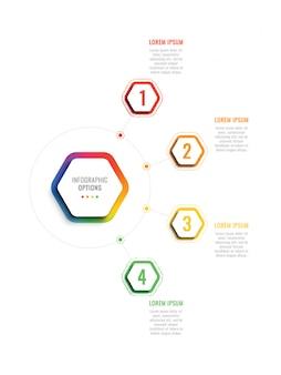 Cztery st 3d infogrhic szablon z sześciokątnymi elementami. szablon procesu biznesowego z opcjami broszury, schematu, przepływu pracy, osi czasu, sieci
