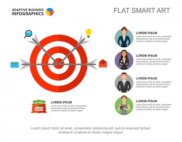 Cztery strzałki w docelowym szablonie wykresu procesu do prezentacji. dane biznesowe.