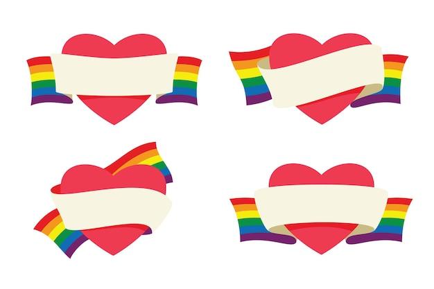 Cztery style serc są owinięte banerem wstążki tęczowej flagi dla aktywności lgbt