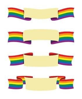 Cztery stylowe wstążki baneru tęczowej flagi dla działalności lgbt
