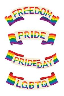 Cztery stylowe wstążki baneru tęczowej flagi ze słowami dotyczącymi aktywności lgbt
