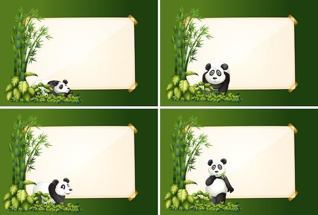 Cztery szablony graniczne z pandą i bambusem