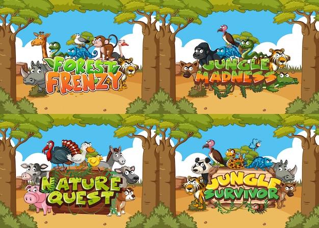 Cztery szablony znaków ze zwierzętami w terenie