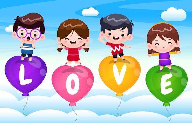 Cztery szczęśliwe dzieci na latający balon miłości