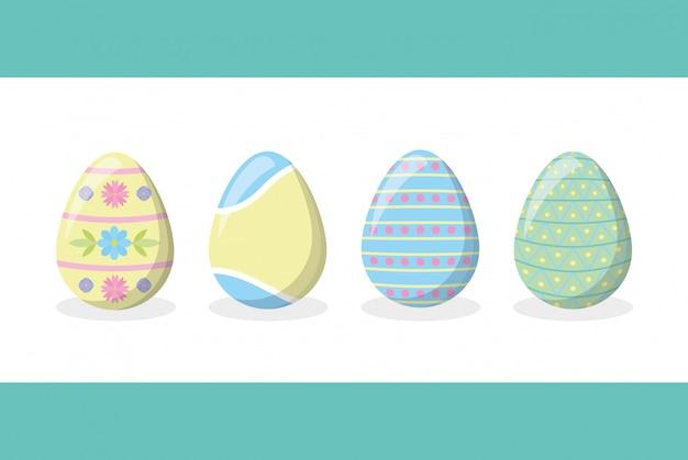 Cztery szczęśliwego easter jajka na bielu