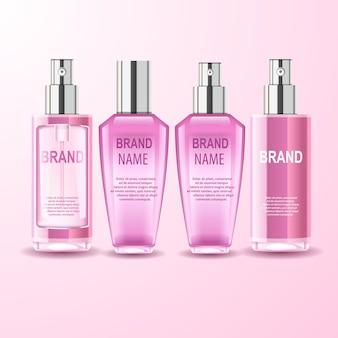 Cztery szklane realistyczne butelki kosmetyczne, kreatywna ilustracja.