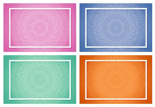 Cztery tła z wzorami mandali