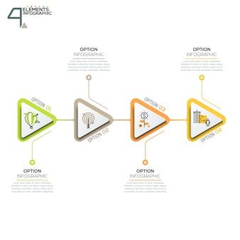 Cztery trójkątne elementy lub strzałki z piktogramami w stylu cienkich linii i pól tekstowych