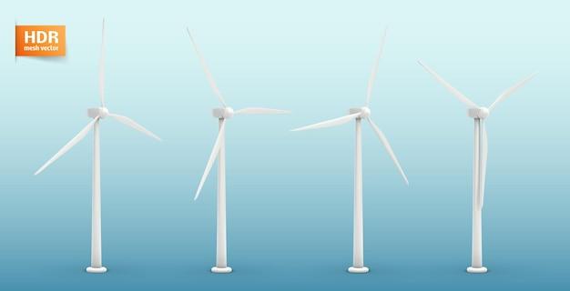 Cztery turbiny wiatrowe. zestaw obrazów. pojęcie energii naturalnej