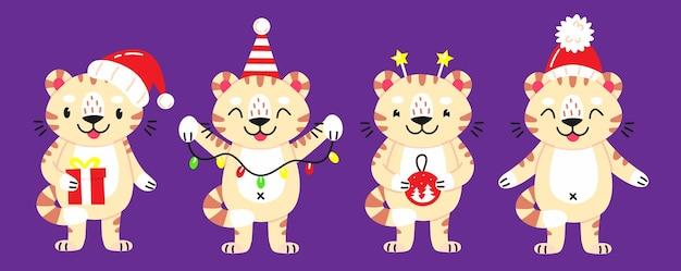 Cztery tygrysy z ilustracjami ozdób choinkowych na fioletowym tle