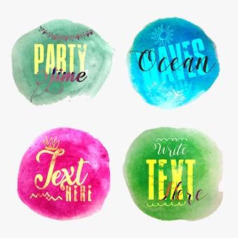 Cztery uniwersalne modne banery akwarela party