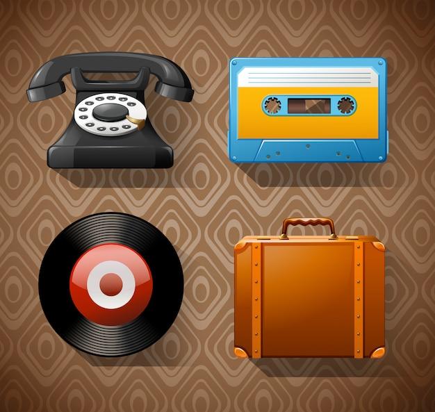 Cztery vintage przedmioty na brązowym tle